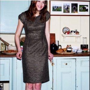 Boden tweed brown tan dress